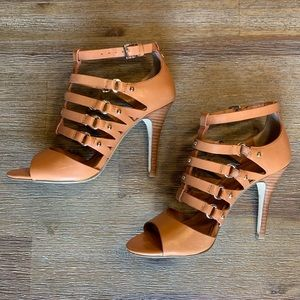 Ivanka Trump Maxy Brown Leather Cage Style Heels
